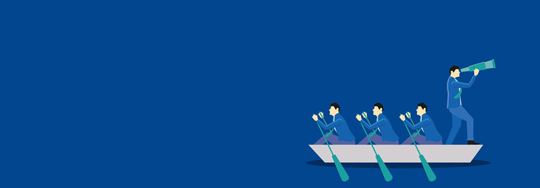 Four people sailing the boat on blue background illustration