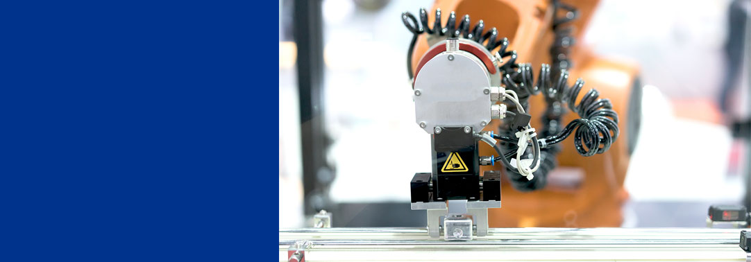 automatic robot arm in an assembly line, machine factory