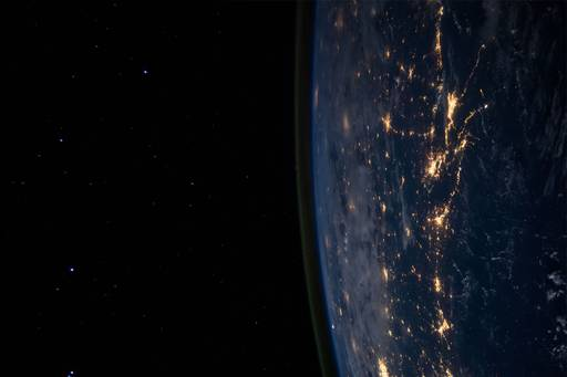 Earth seen at night from space