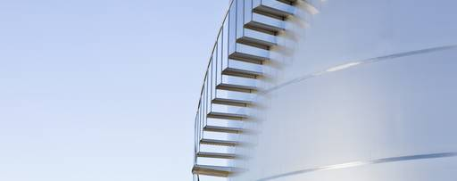 Stairs winding along silage storage tower