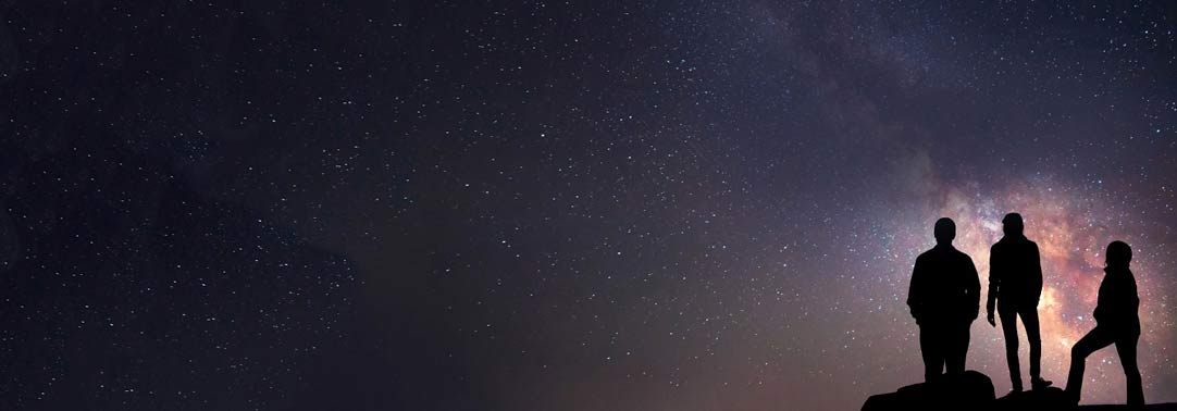 3 people standing under the sky in the night, stars