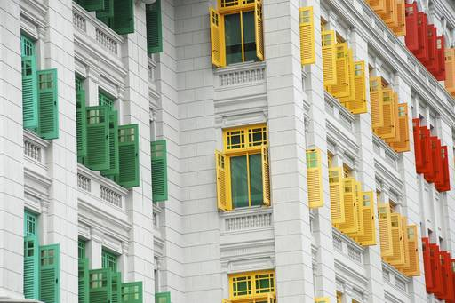 White building with colorful windows Singapore