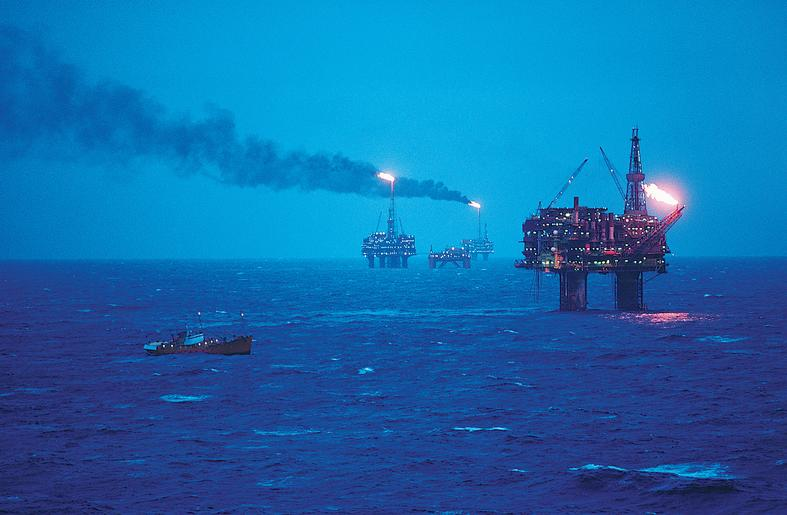 Oil refineries in middle of the blue sea
