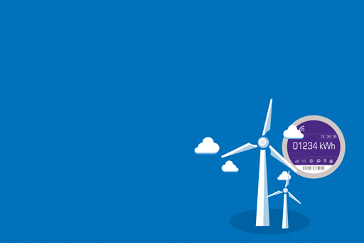Illustration of windmill generating energy against a blue background