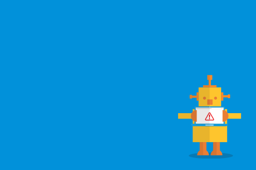 Yellow robot with red alert mark against blue background