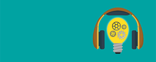 IFRS podcasts - headphones and bulb image on green background