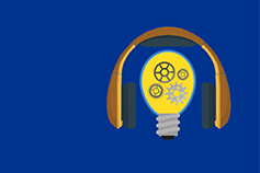 IFRS podcasts - headphones and bulb image on blue background