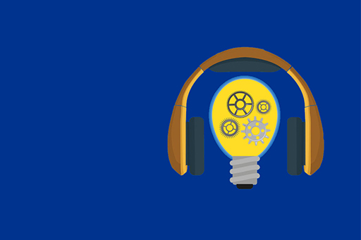 Bulb and headphones (ISG podcast) image on blue background