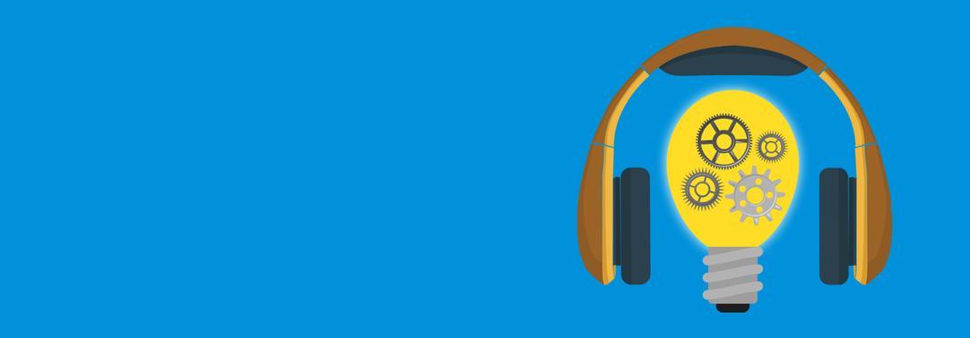 Bulb and headphones (ISG podcast) image on the light blue background