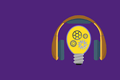 purple podcast image - headphones and bulb