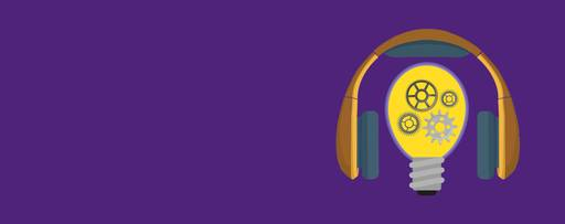 IFRS today - purple background with headphones and lightbulb