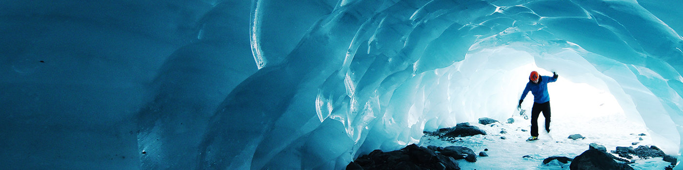 man in a ice cave