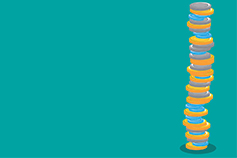 Stack of coins illustration on green background