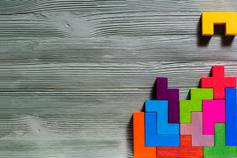 Colorful wooden tetris blocks