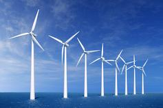 Wind turbines farm in sea