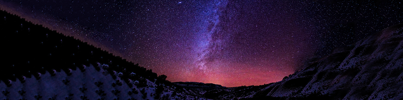 Mountains at Night with Milky Way Galaxy - Landscape scenic with stars and space at night. Flattops Wilderness, Colorado USA.