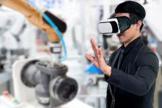 Man in black formals wearing VR raising hand against laboratory blur background