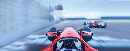 Track view from driver seat of red race car