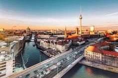 Berlin city view with television tower during sunset