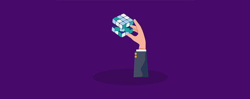 Illustration of hand holding rubik's cube against purple background