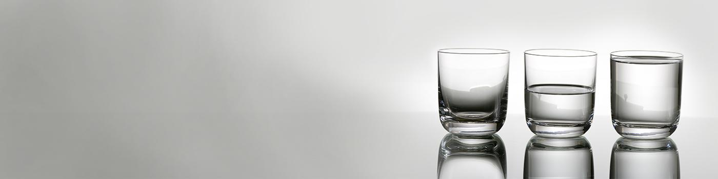 Transparent glass of water