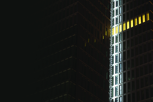 Building with row of light up windows