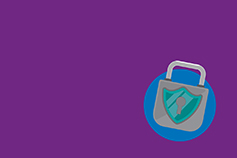 Grey padlock on purple background