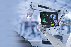 Robot arm holding tablet in a laboratory