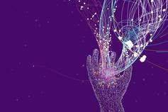 Conceptual image of a hand on a purple background