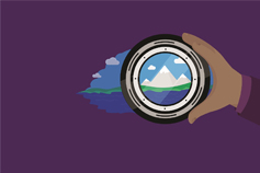 Hand holding camera lens illustration on purple background