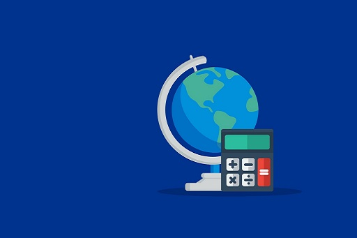 Globe and calculator on dark blue background