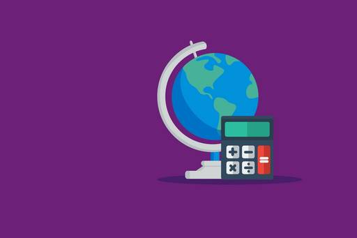 Globe and calculator on purple background