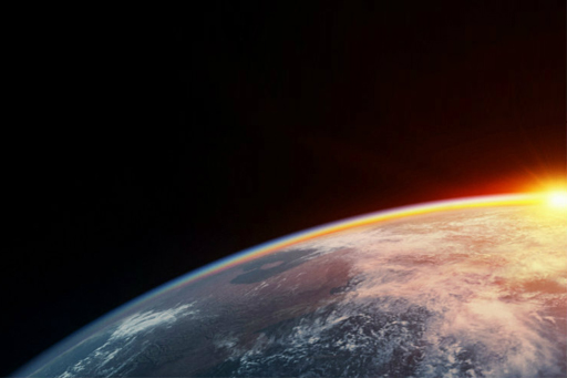 Sunset view of half earth from space