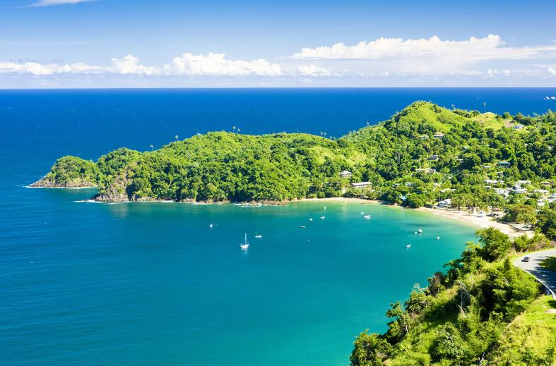 Top view of an Island Trinidad and Tobago