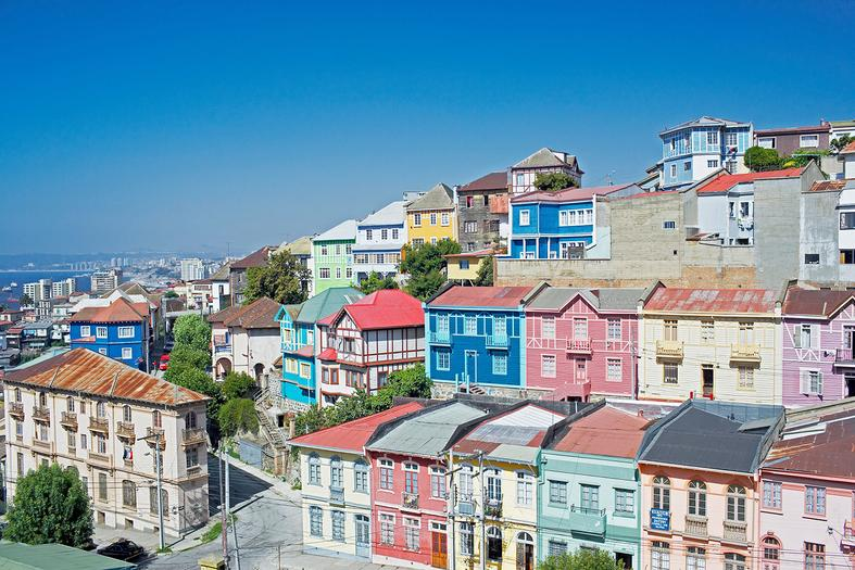 Traditional multi color houses in chile