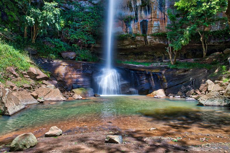 Waterfall in a green forest, Americas Guide Paraguay