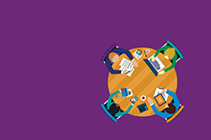 Aerial view of four people meeting on roundtable against purple background illustration