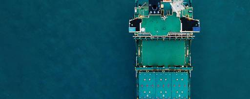 Aerial view of shipping tanker
