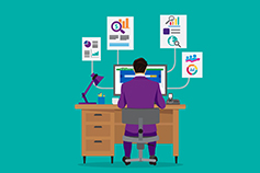 Back view of a business man working on office desk on laptop, Illustration