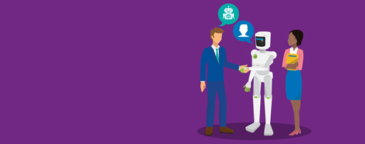 Businessman wearing formals shaking hand with white robot and a woman holding files, Illustration