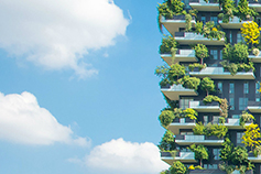 Tall building with small plants and bushes planted in balcony