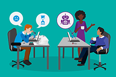 Two business people having discussion and one person working on laptop on office table, Illustration