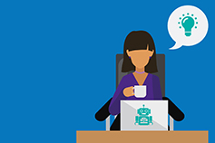 Women holding a cup of coffee and working on laptop at office desk, Illustration