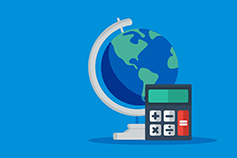 ISG | IFRS 17 - globe and calculator on light blue background
