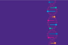 Genome illustration against violet background