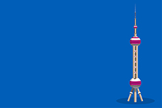 Oriental Pearl Tower in China against blue background illustration