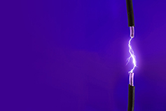 Purple-electric chords against blue background