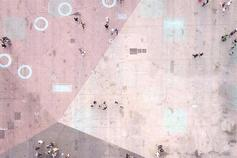 Top view of people walking on concrete floor