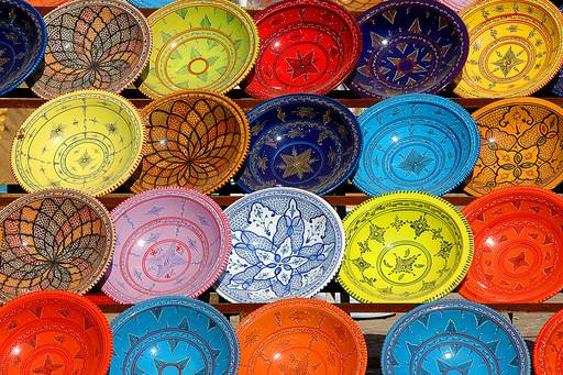 Clourful earthernware in Tunisian market