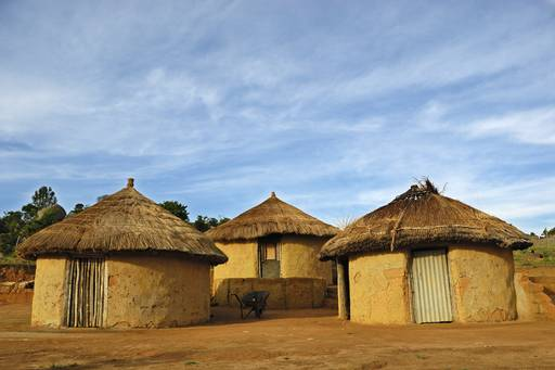 Mud huts in a village